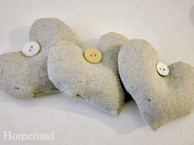 3 heart sachets