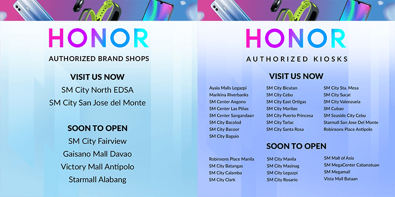Honor Mobile stores and kiosks