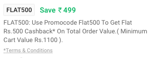 Paytm Mall – Get Rs 500 Cashback on Purchase of Rs 1100 or more