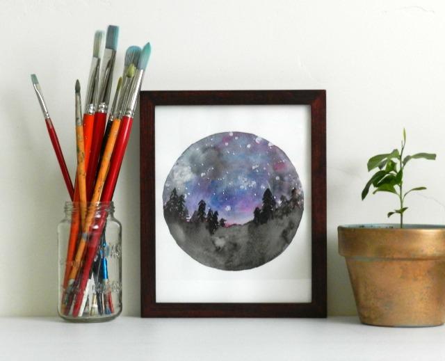 Watercolor Starry Night Sky