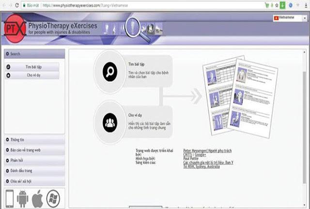 Website hướng dẫn tập PHCN cho người tổn thương tủy sống