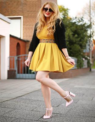 vestido amarillo corto para el verano 2018