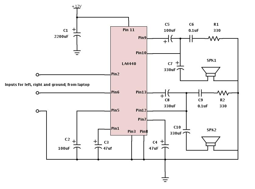 LA4440 Audio Amplifier Circuit - Electronic Projects, Power