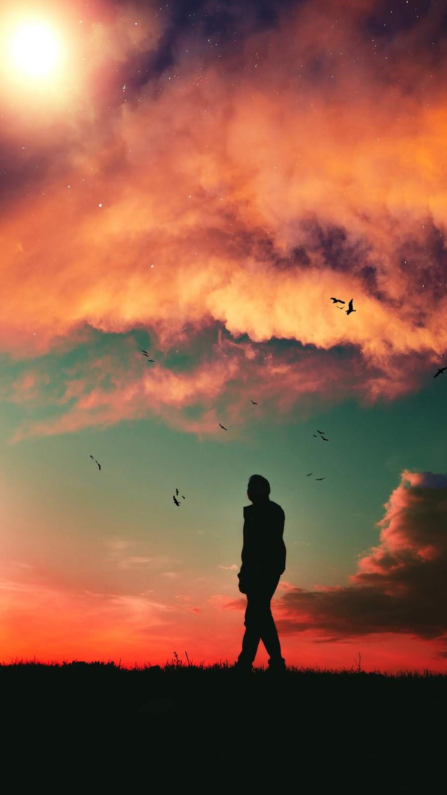 Watching the beautiful sky