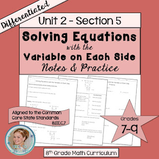 Have you checked out my new line of differentiated resources?  I am currently working on differentiated notes and practice for eighth grade math.  The linear equations unit is almost complete, and you can scoop up a FREE comprehensive lesson on Solving Equations with the Variable on Each Side today!