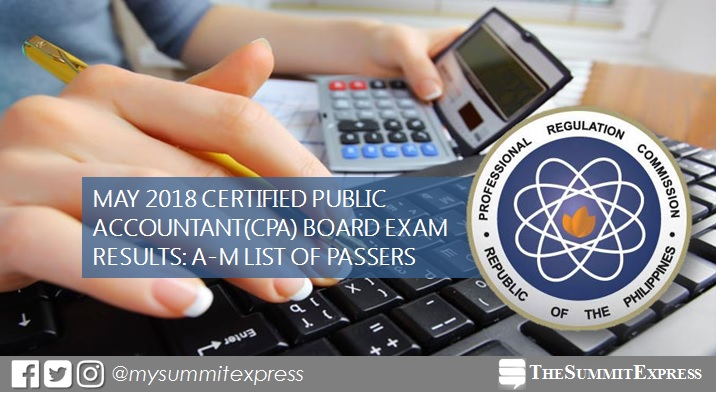 LIST OF PASSERS: A-M May 2018 CPA board exam results