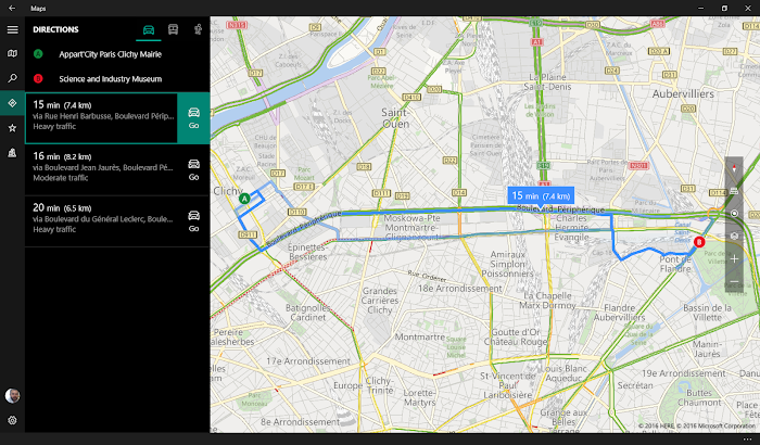 Windows 10 Maps driving directions