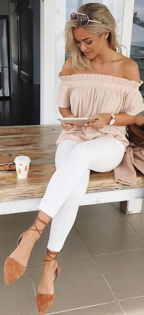 Off-the-shoulder top with white jeans and nude sandals
