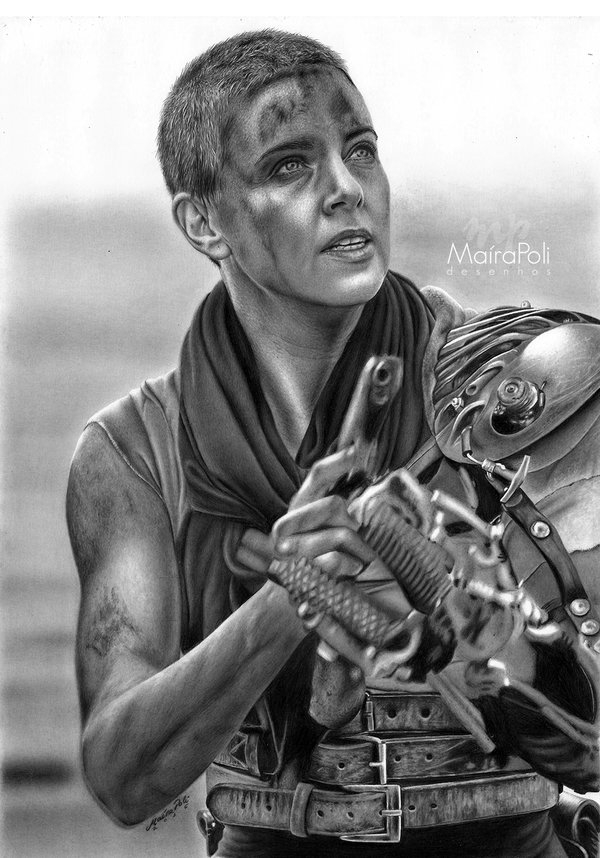 13-Imperatriz-Furiosa-Mad-Max-Estrada-da-Fúria-Maíra-Poli-Mahbopoli-Black-and-White-Realistic-Pencil-Celebrity-Portraits-Drawings-www-designstack-co