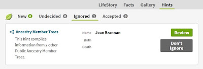 Screen capture from Ancestry for Ignored hints of Jean Brannan in McKinlay/McMullen tree