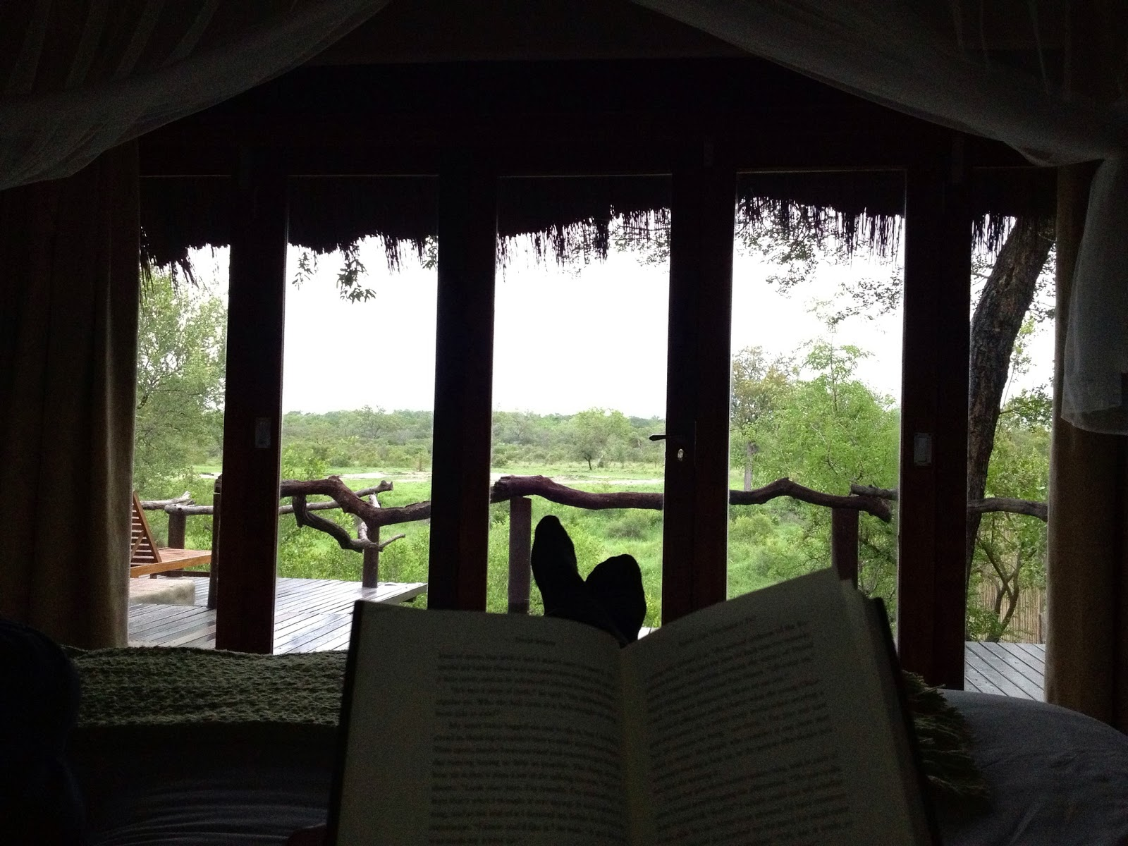 Sabi Sands - Reading in bed after breakfast