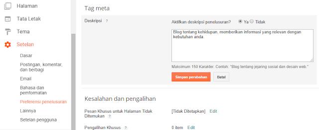 Meta deskripsi yang dimasukkan pada homepage blog devi