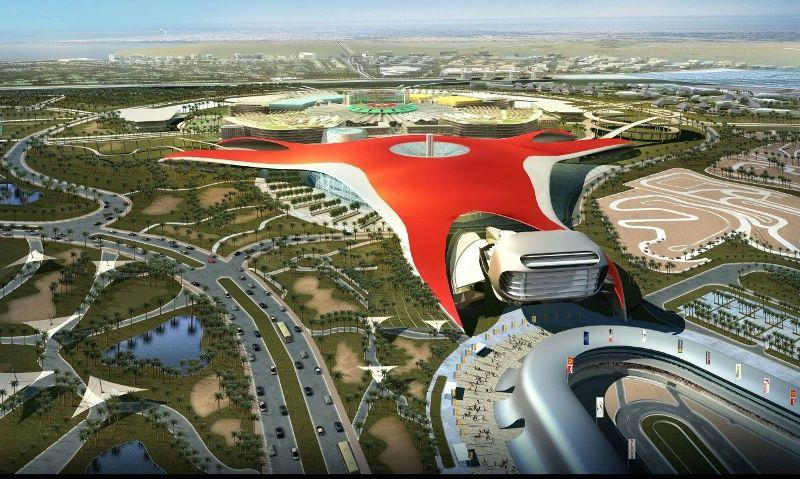 Aerial view of Ferrari World park