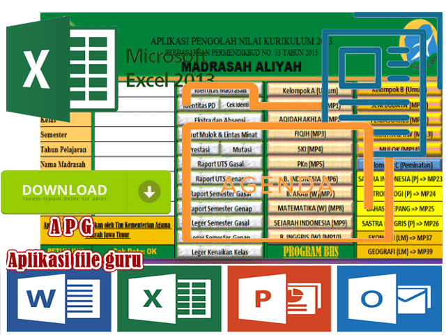Download Aplikasi Pengolahan Nilai Kurikulum 2013 MA ( Madrasah Aliyah ) Terbaru Tahun 2017