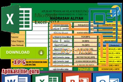 Aplikasi Pengolahan Nilai Kurikulum 2013 MA ( Madrasah Aliyah ) Format Excel