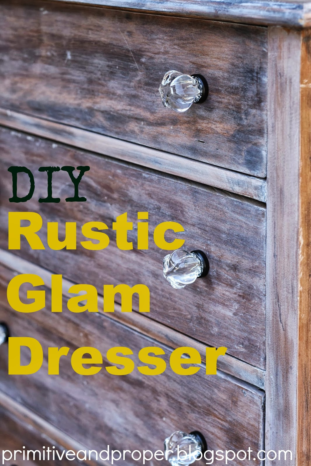 Rustic Glam Washed Dresser With Gorgeous Glass Knobs