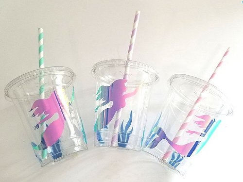 Mermaid Party Cups, The Little Mermaid Theme Party, Under the Sea, Kids Party, Summer Beach Party, Ariel theme, Girl's Birthday, Party decor