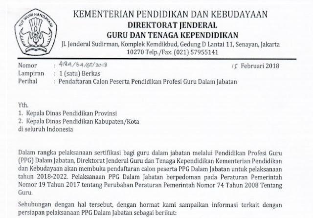 Persyaratan dan Tata Cara Pendaftaran Calon Peserta PPG Dalam Jabatan Tahun 2018-2020