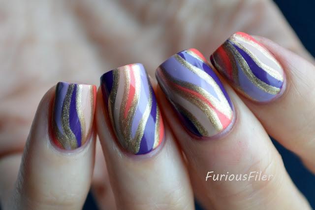 #31dc2015 marble jasper stone nail art gold