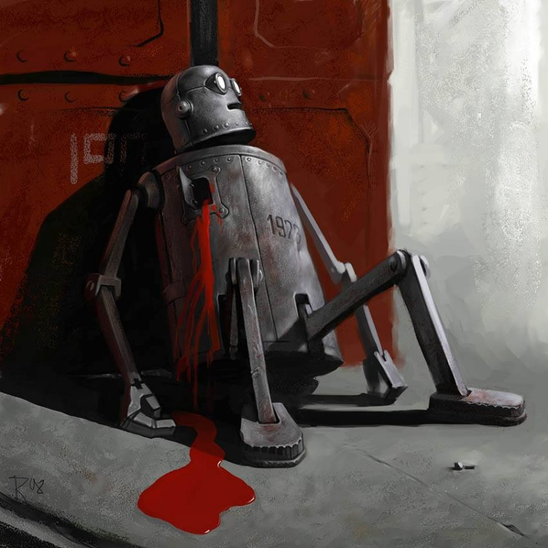 15 Satirical Paintings Perfectly Illustrate The Insanity Of Modern Day Society - The robot is dead