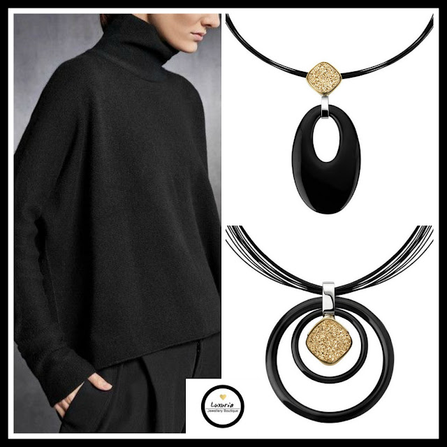 pendants, black Onyx, statement pendants, Fall, black jewellery, jewellery, Luxuria Jewellery,druzy
