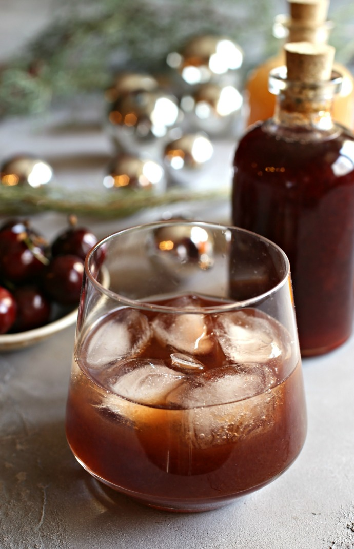 Recipe for a bourbon cocktail flavored with a cherry shrub.