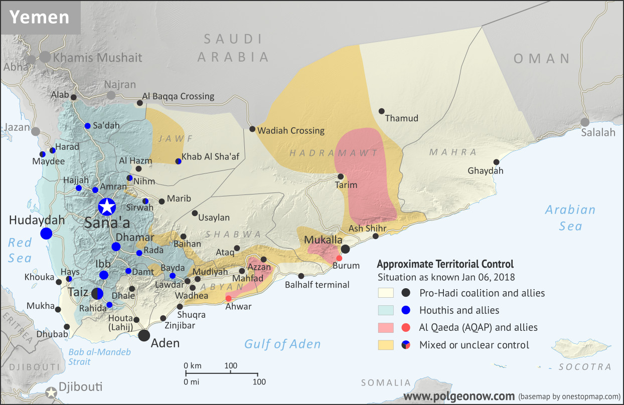Map of what is happening in Yemen as of January 6, 2018, including territorial control for the unrecognized Houthi government and former president Saleh's forces, president-in-exile Hadi and his allies in the Saudi-led coalition and Southern Movement, Al Qaeda in the Arabian Peninsula (AQAP), and the so-called Islamic State (ISIS/ISIL). Includes recent locations of fighting, including Mudiyah, Khoukha, Hays, Khab Al Sha'af, and more. Colorblind accessible.