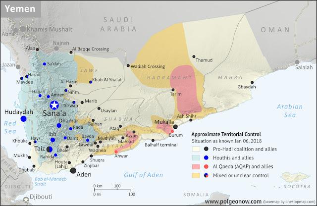 Výsledek obrázku pro war in yemen map 2018