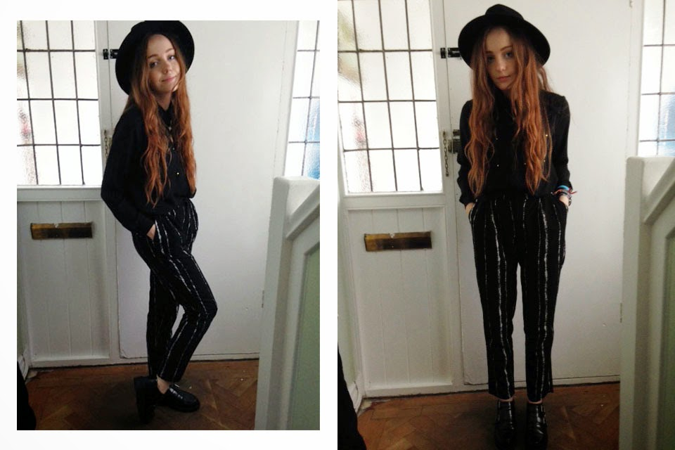 uni OOTD; black primark fedora hat, black chiffon shirt, black and white striped choies pants and primark monk shoes in black