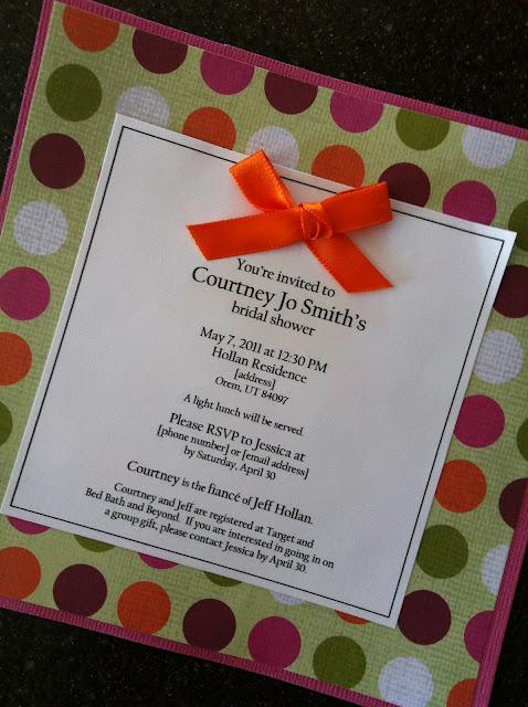 Handmade Bridal Shower Invitations