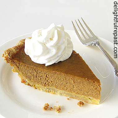 Perfect Pumpkin Pie - Without Canned Milk (this photo - slice of pie with whipped cream) / www.delightfulrepast.com