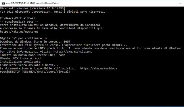 Windows 10, Nuovo nome utente Unix