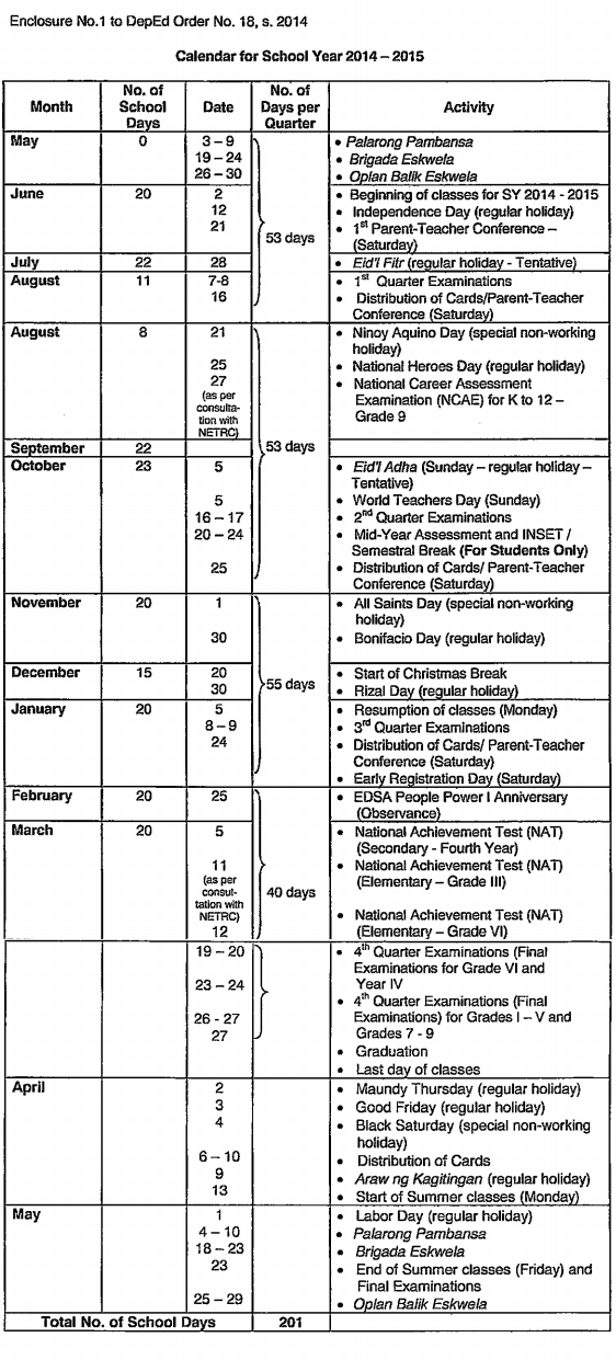 2014 To 2019 School Calendar School Calendar for School Year 2014   2015   Cebu Image Lifestyle