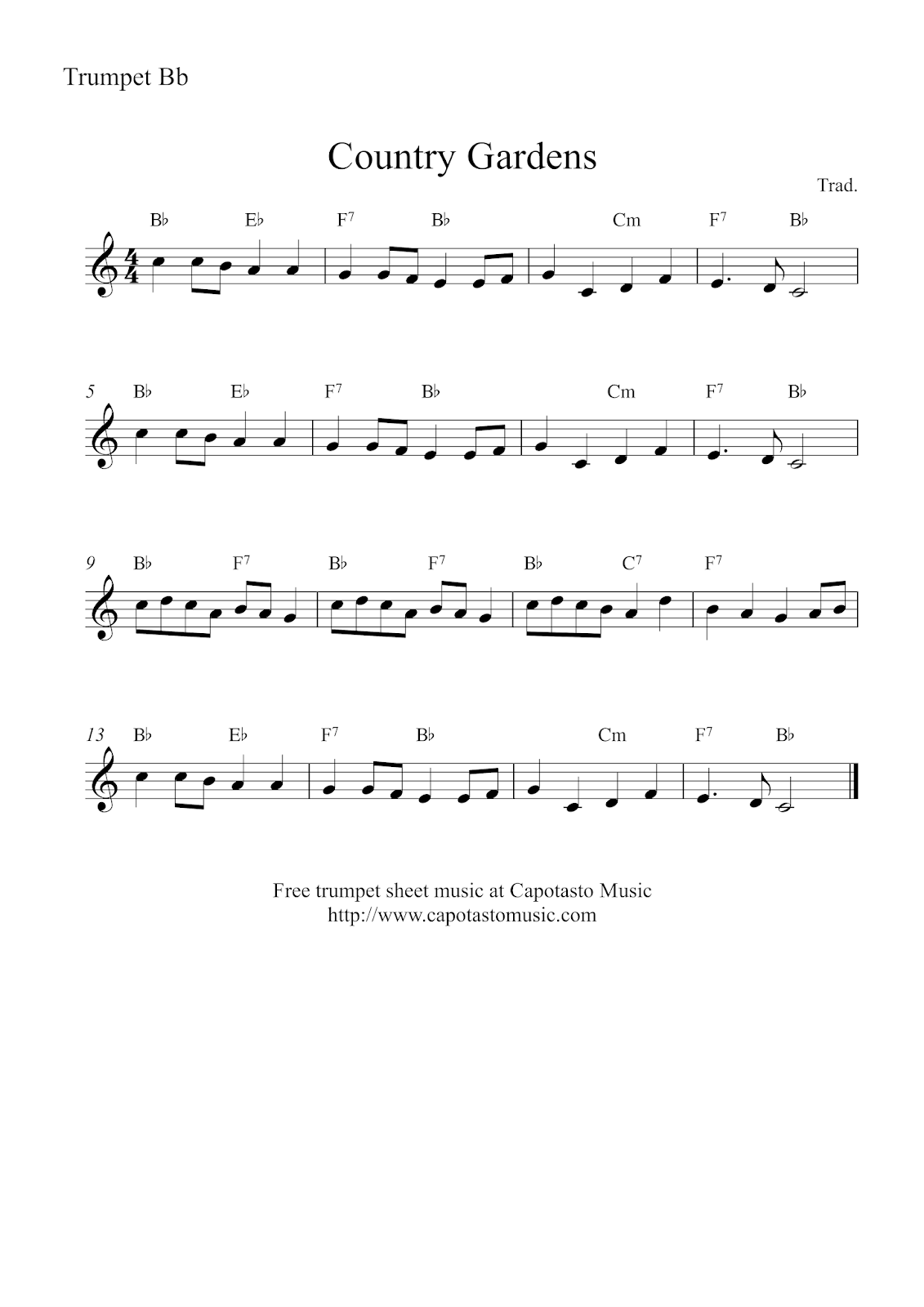 Free Easy Trumpet Sheet Music Country Gardens