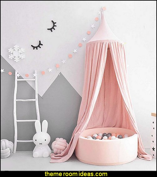 blush Princess Bed Canopy Mosquito Net for Kids Baby Crib, Round Dome Kids Indoor Outdoor Castle Play Tent Hanging House Decoration Reading nook Cotton Canvas
