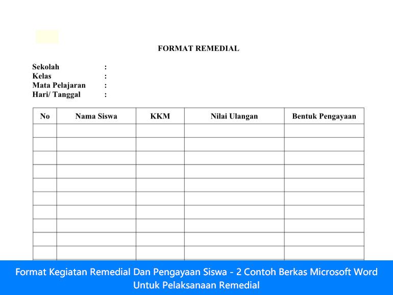 Format Kegiatan Remedial Dan Pengayaan Siswa - 2 Contoh Berkas Microsoft Word Untuk Pelaksanaan Remedial