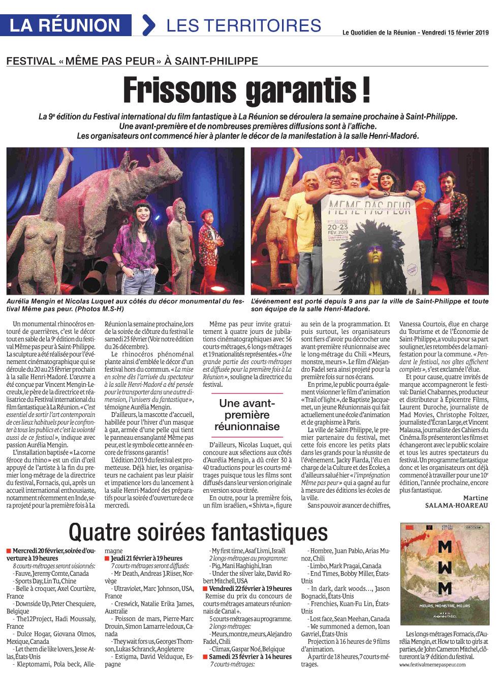 """""""Frissons garantis"""" Le Quotidien de La Réunion"""