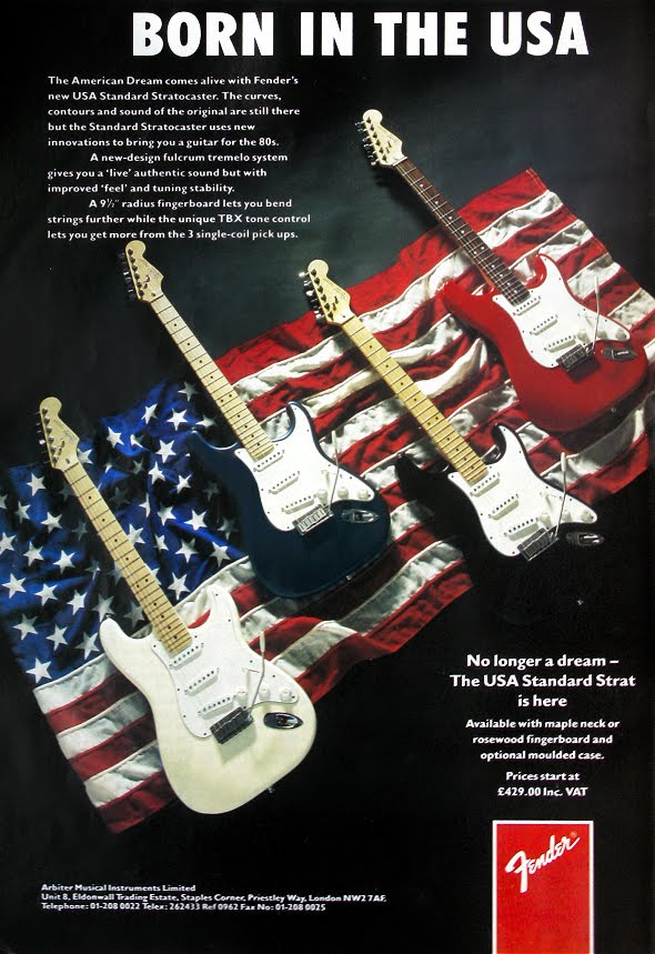 1987 Fender American Standard Stratocaster original UK advert