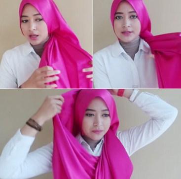 Model Hijab Segi Empat Terbaru Ikat Satin Dian Pelangi