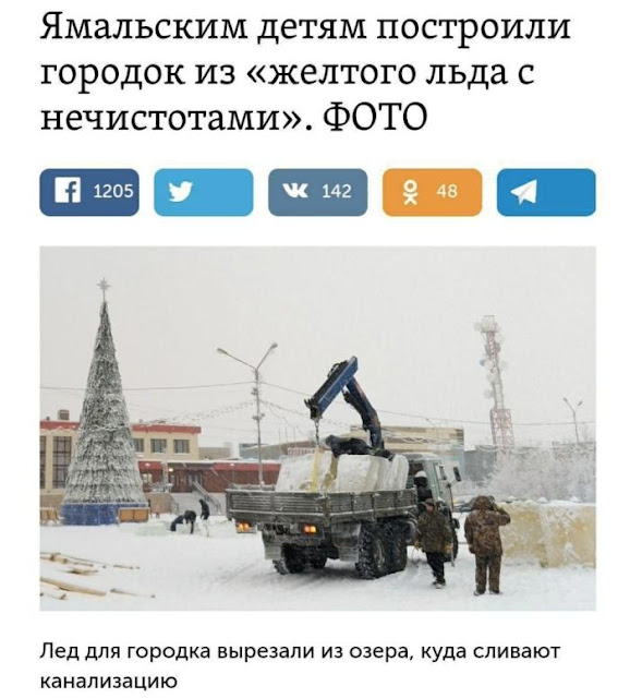 Ямальским детям построили городок из льда с нечисотами