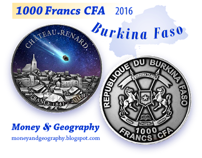 Burkina Faso meteorite coin — 1000 Francs CFA, year 2016