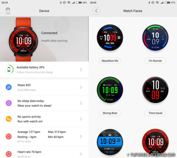 Huami Amazfit : app connected