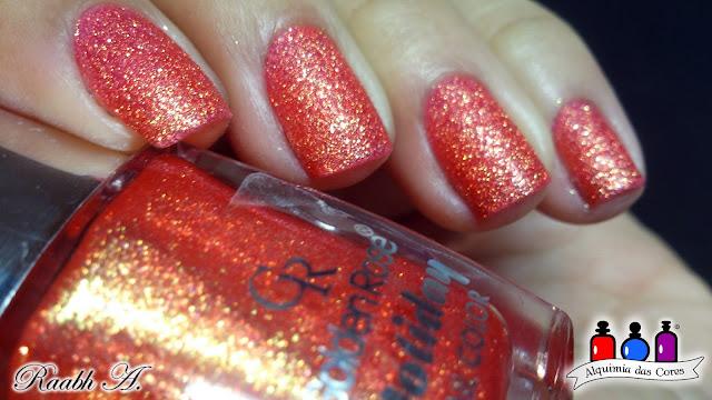 texturizado, Golden Rose Holiday 53, Laranja, esmalte, unhas, nails