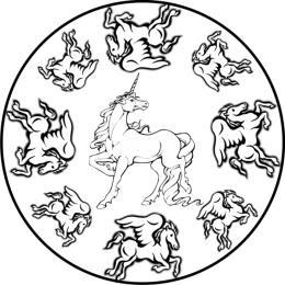 malvorlagen zum ausmalen: ausmalbilder pferde: mandala einhorn