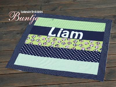 Babydecke Kuscheldecke Krabbeldecke Decke Baby Name Baumwolle Fleece handmade Liam Buntje Junge dunkelblau blau grün Eulen Geschenk Farbenmix nähen