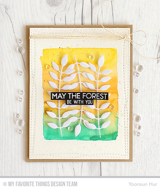 Handmade card from Yoonsun Hur featuring Forest Friends stamp set and Bold Greenery and Wonky Stitched Rectangle STAX Die-namic, #mftstamps