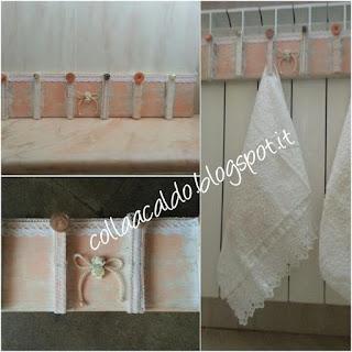 Riciclo creativo mollette e bottoni porta asciugamani da appendere fai da te tutorial