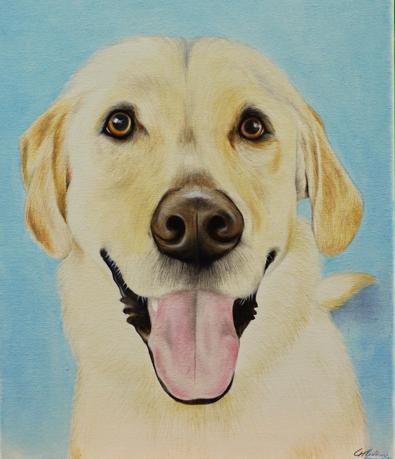 Yellow Labrador Dog Pet Portrait Painting