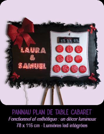 Panneau plan de table en carton pour mariage thème Cabaret, rouge et noir, avec lumières led intégrées, boa, brillants et noeuds à paillettes... à la fois plan de table, élément de décoration, et ambiance lumineuse... très léger.