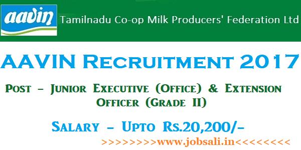 Aavin Milk Recruitment 2017, Aavin Job Vacancies, Govt jobs in TN